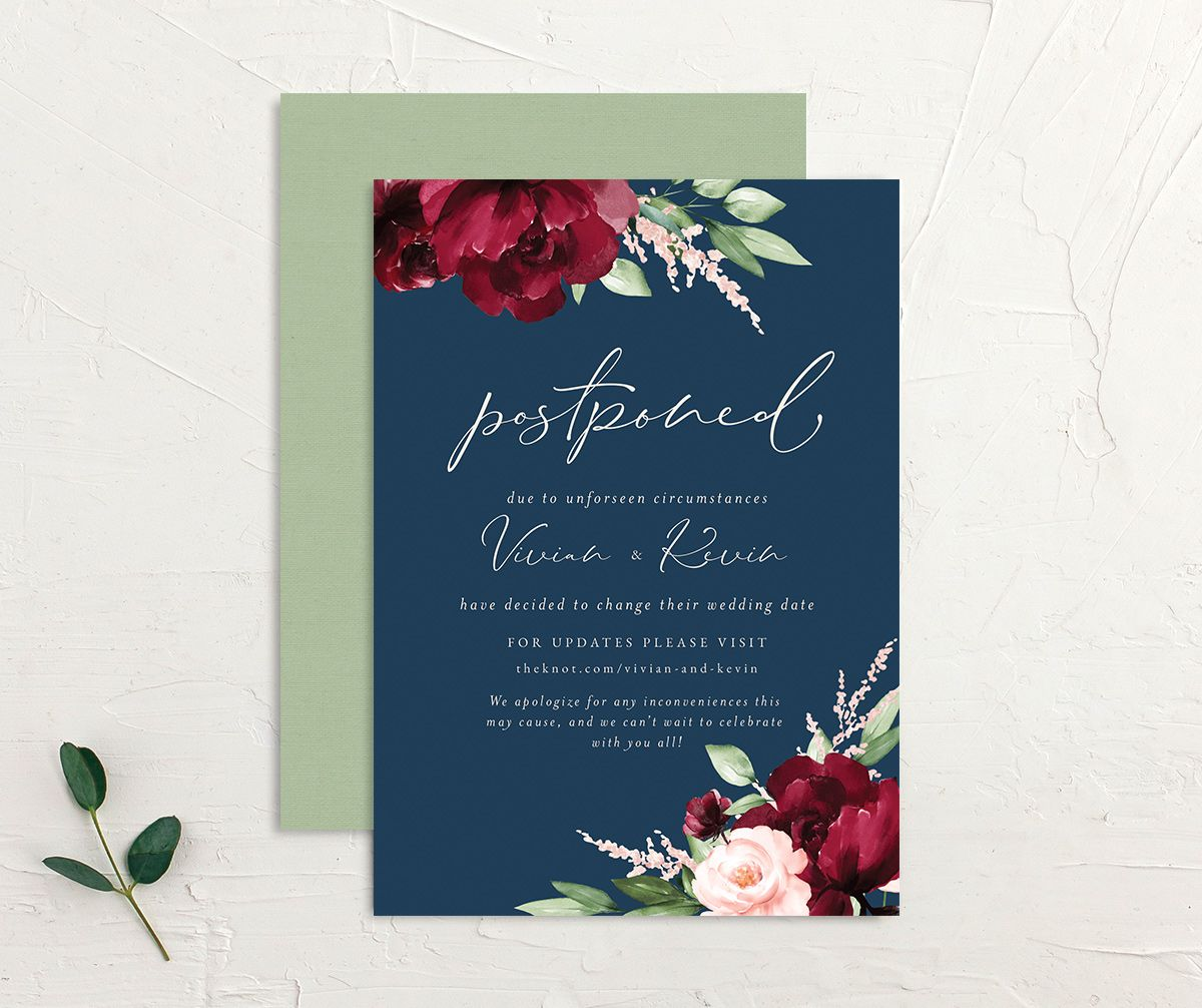 Beloved Floral Change the Date Card front & back in multi