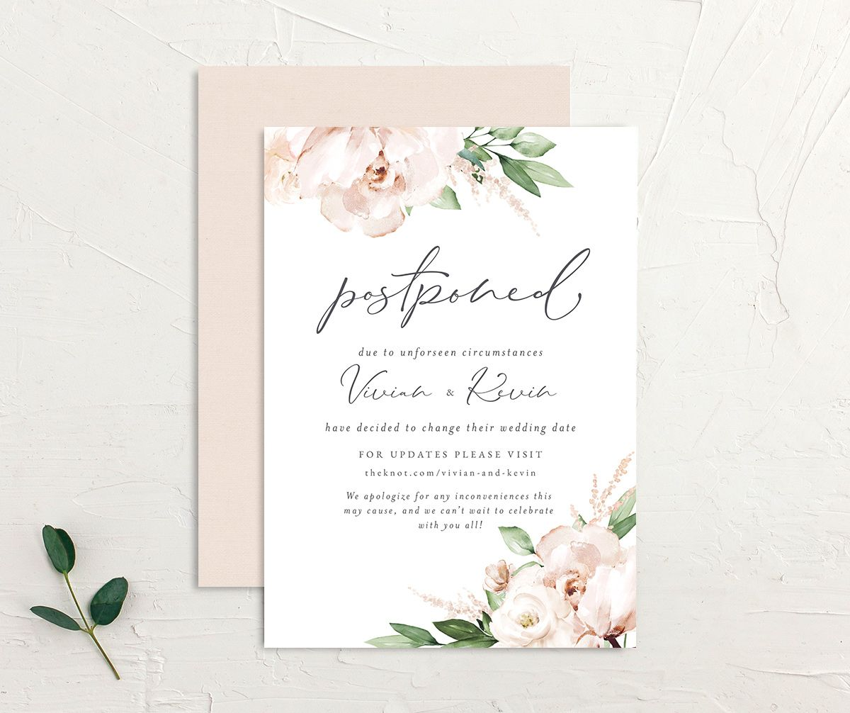 Beloved Floral Change the Date Card front & back in white