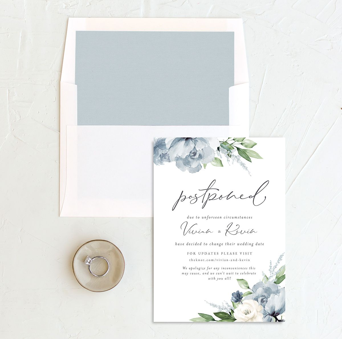 Beloved Floral Change the Date Card front with DIY liner in teal