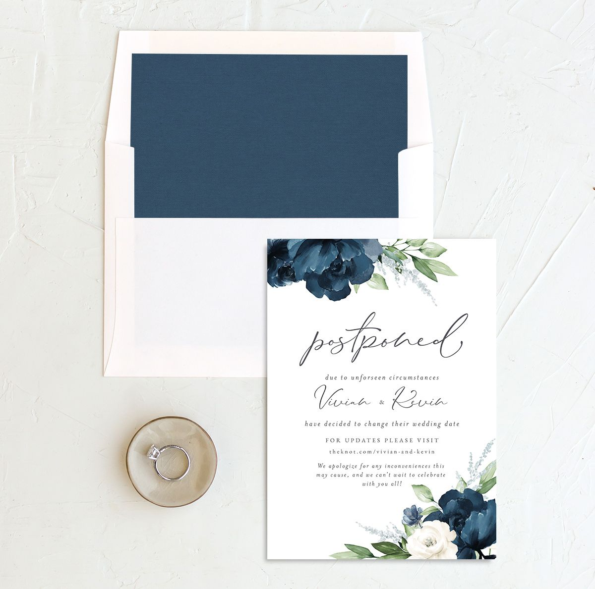 Beloved Floral Change the Date Card front with DIY liner in blue