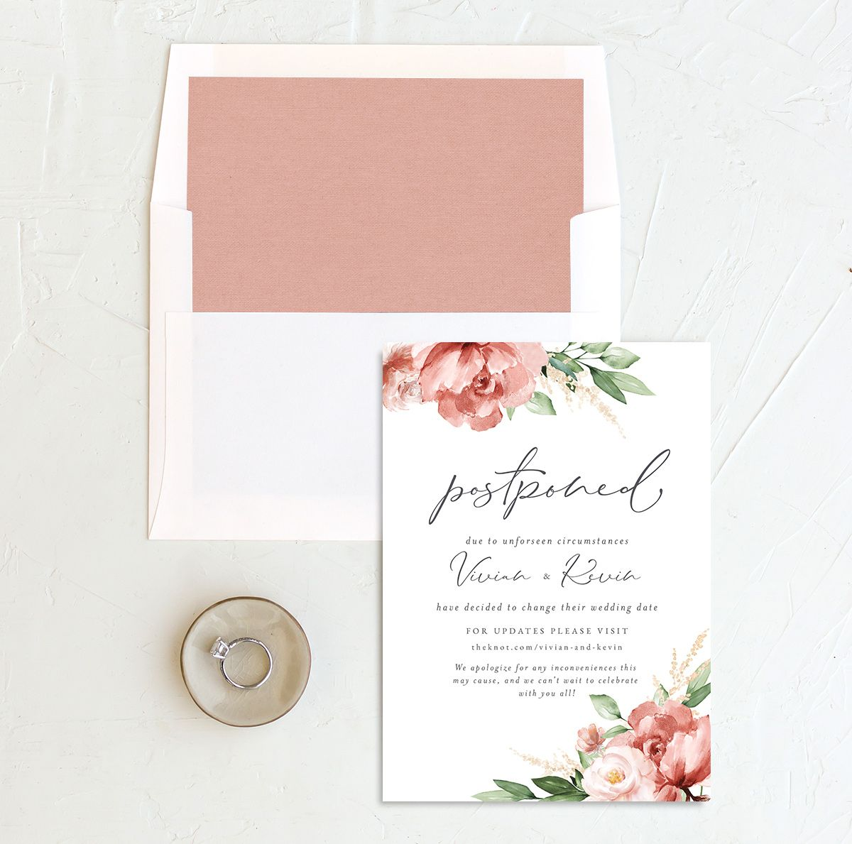 Beloved Floral Change the Date Card front with DIY liner in pink