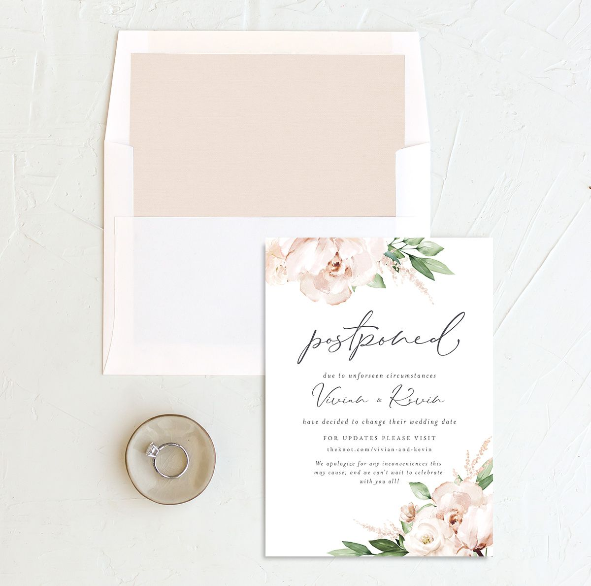 Beloved Floral Change the Date Card front with DIY liner in white