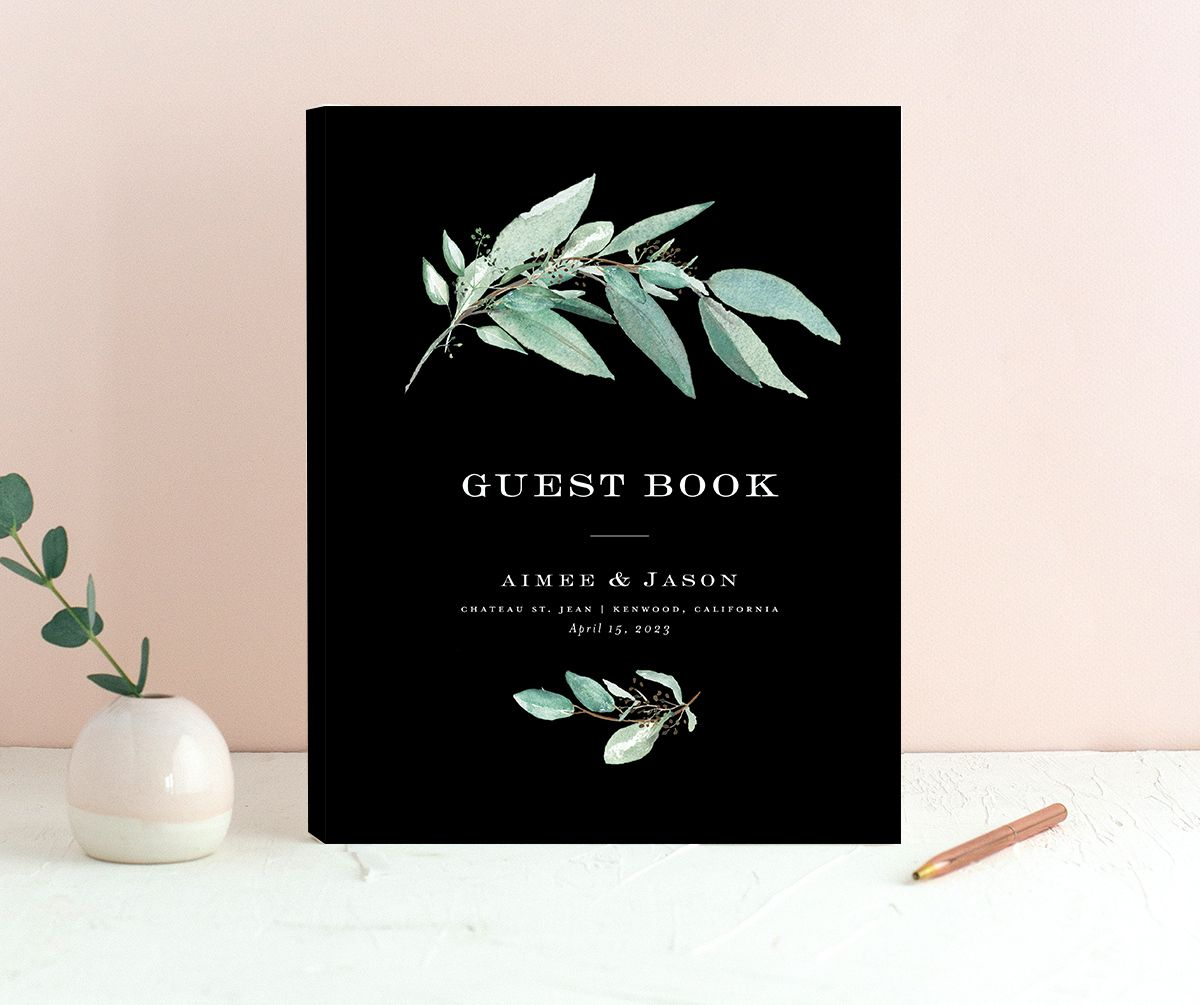 Lush Greenery Wedding Guest Book front in black
