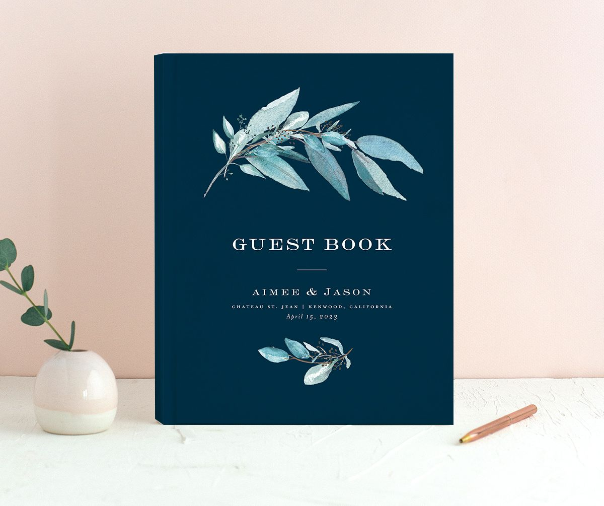 Lush Greenery Wedding Guest Book front in blue