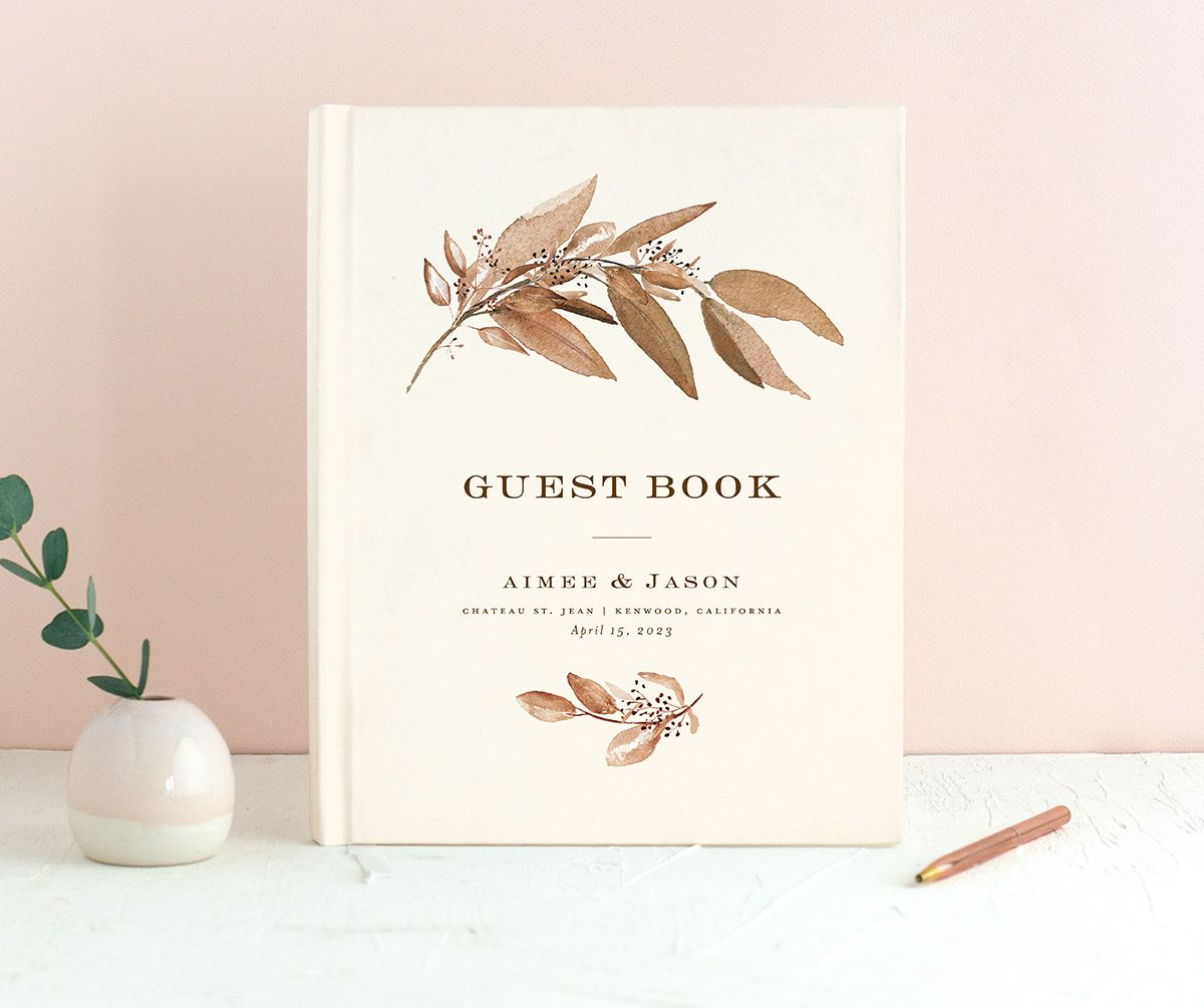 Lush Greenery Wedding Guest Book front in brown