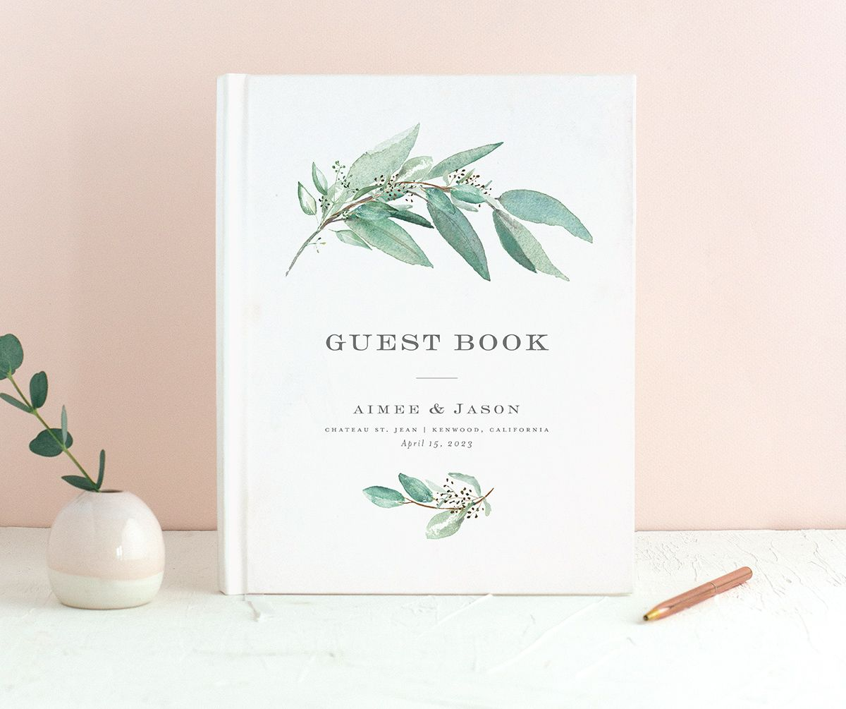 Lush Greenery Wedding Guest Book front in green