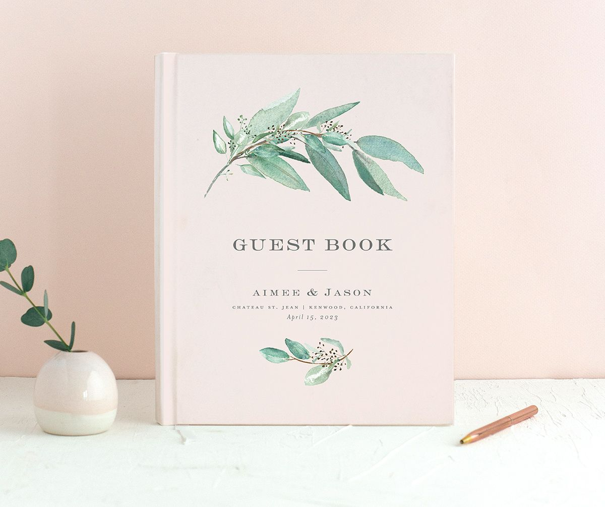 Lush Greenery Wedding Guest Book front in pink