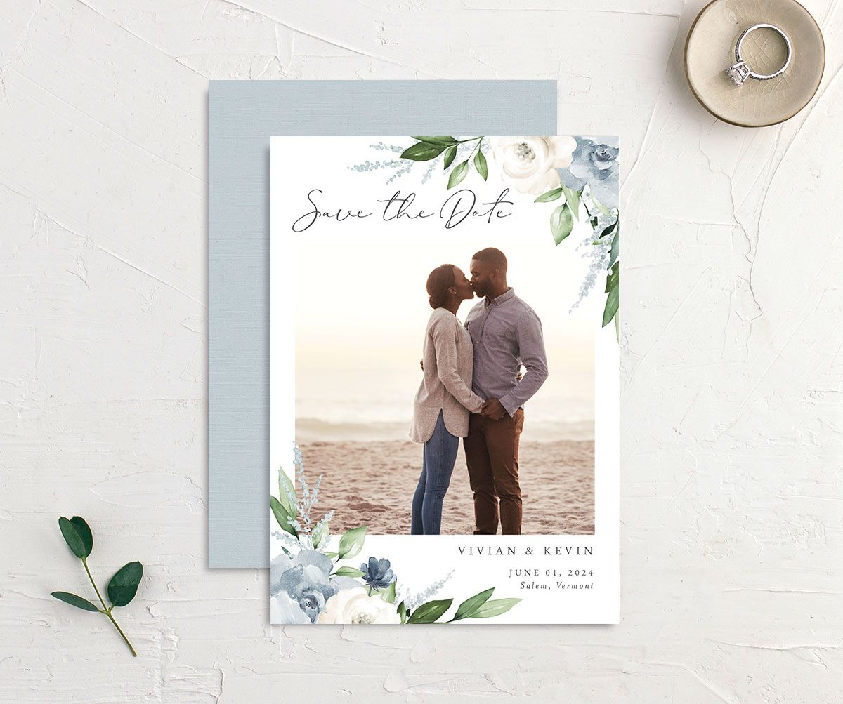 Beloved Floral Save the Date front & back in teal