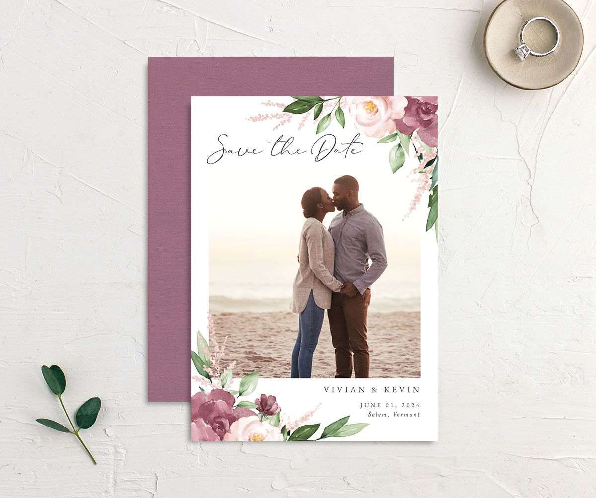 Beloved Floral Save the Date front & back in mauve