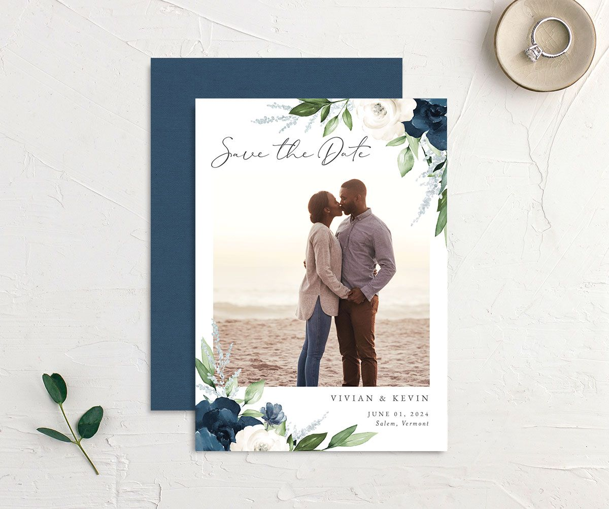 Beloved Floral Save the Date front & back in blue