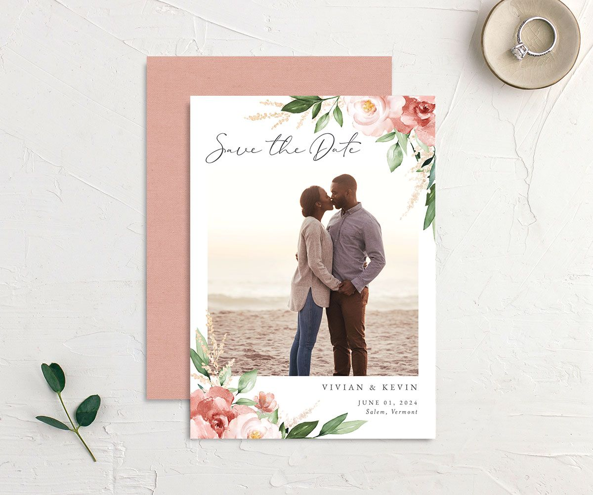 Beloved Floral Save the Date front & back in pink