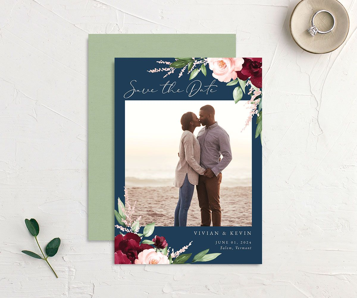 Beloved Floral Save the Date front & back in multi