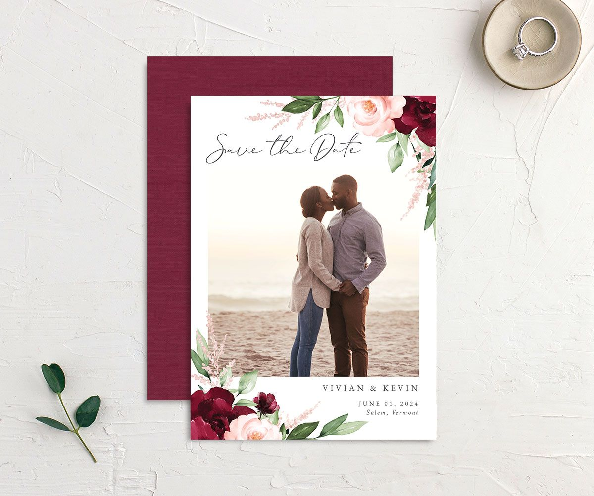 Beloved Floral Save the Date front & back in red