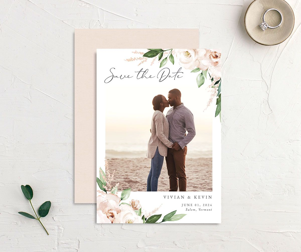 Beloved Floral Save the Date front & back in white