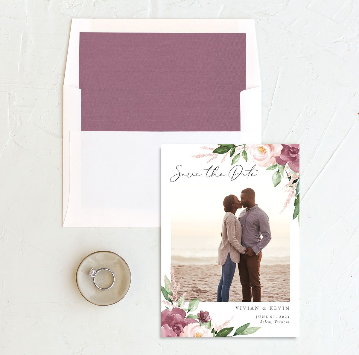 Beloved Floral Save the Date front with DIY liner in mauve