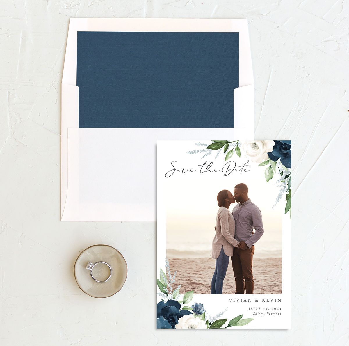 Beloved Floral Save the Date front with DIY liner in blue
