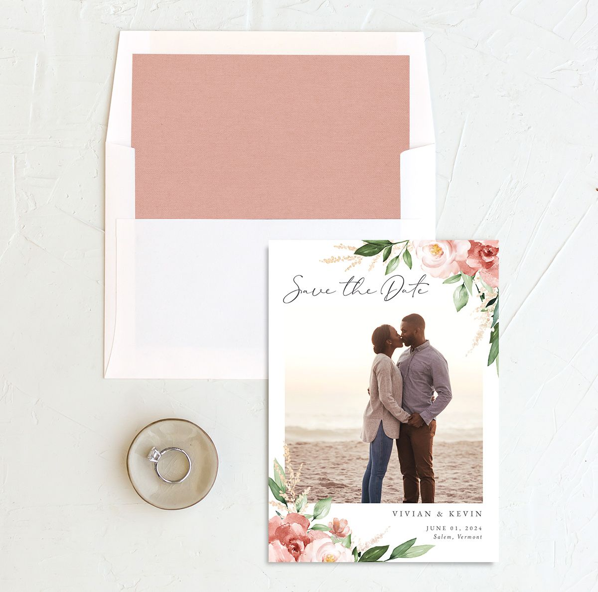 Beloved Floral Save the Date front with DIY liner in pink