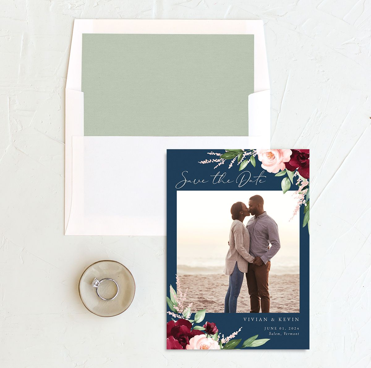 Beloved Floral Save the Date front with DIY liner in multi