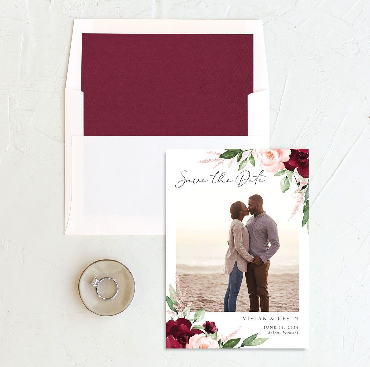 Beloved Floral Save the Date front with DIY liner in red