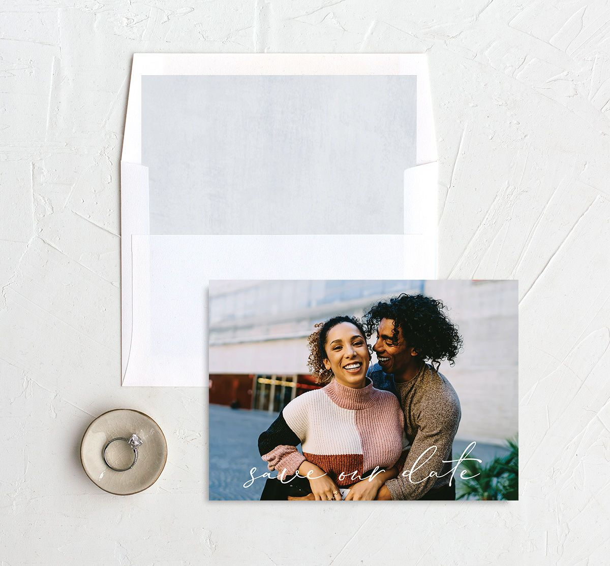 Minimal Brush Save the Date Card front with DIY liner in blue
