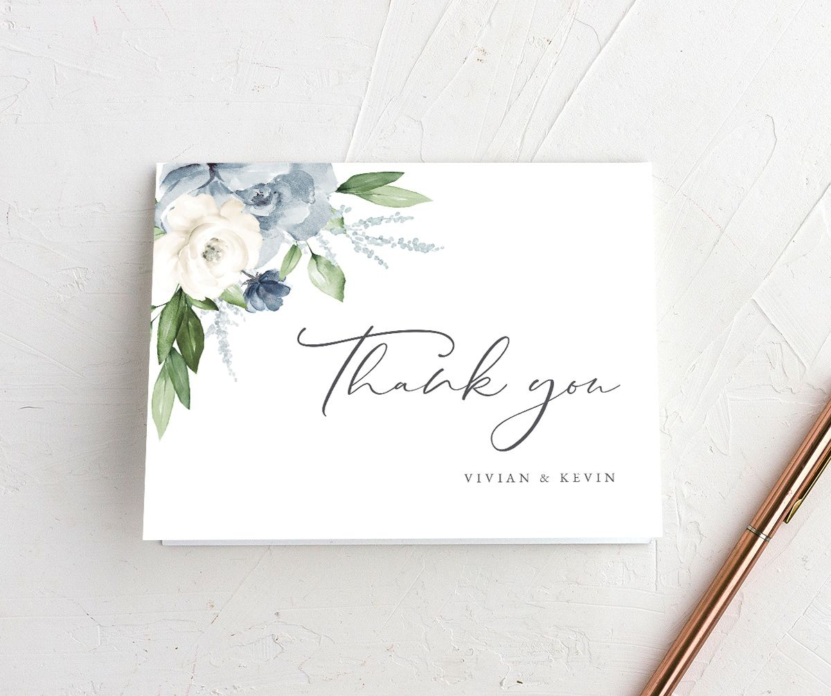 Beloved Floral Thank You Card in teal