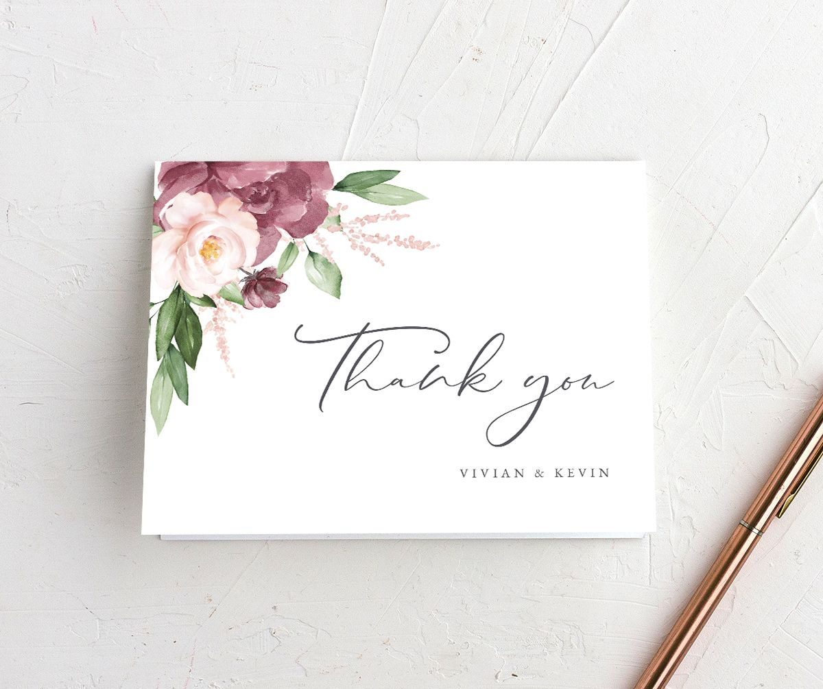Beloved Floral Thank You Card in mauve