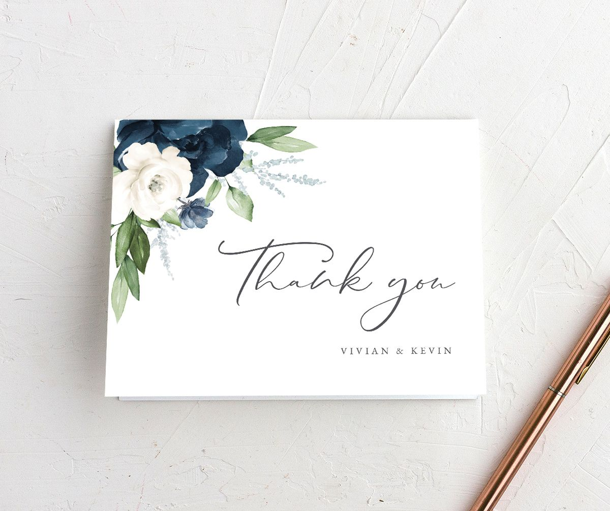Beloved Floral Thank You Card in blue