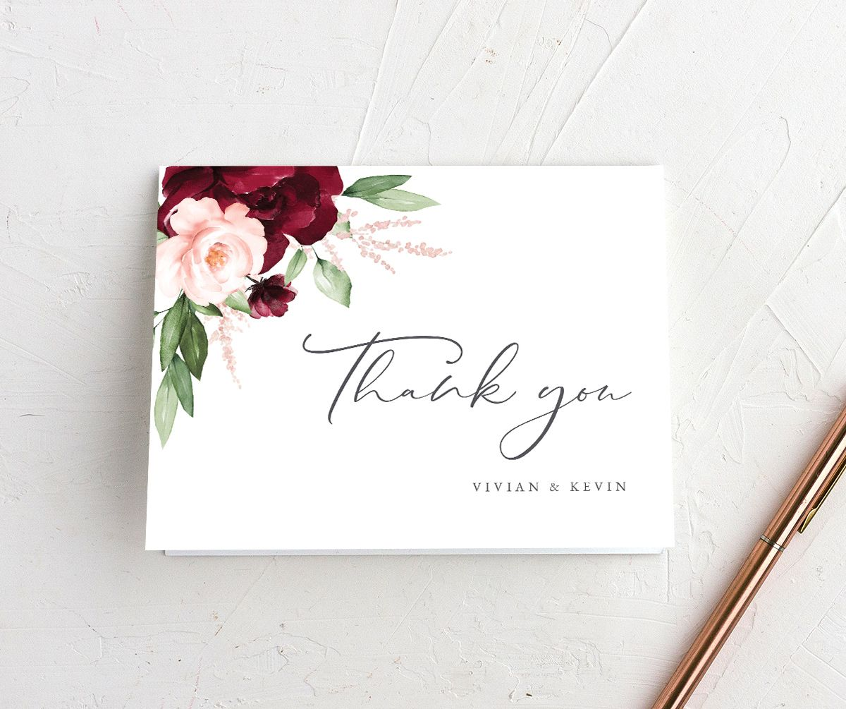 Beloved Floral Thank You Card in red