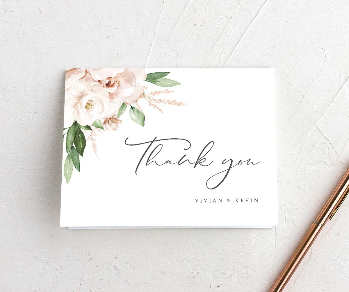 Beloved Floral Thank You Card in white