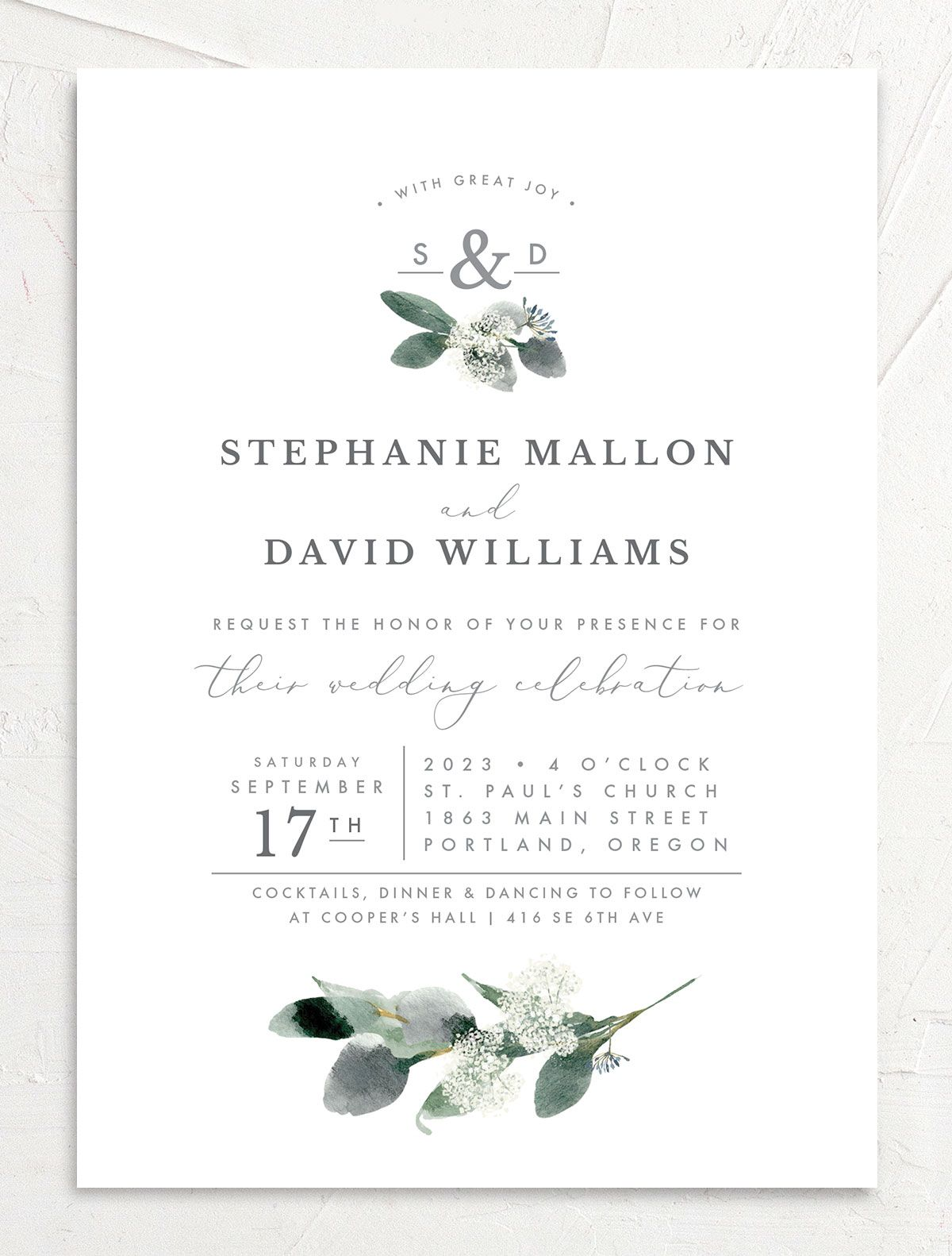 Elegant Greenery Wedding Invitation front in white