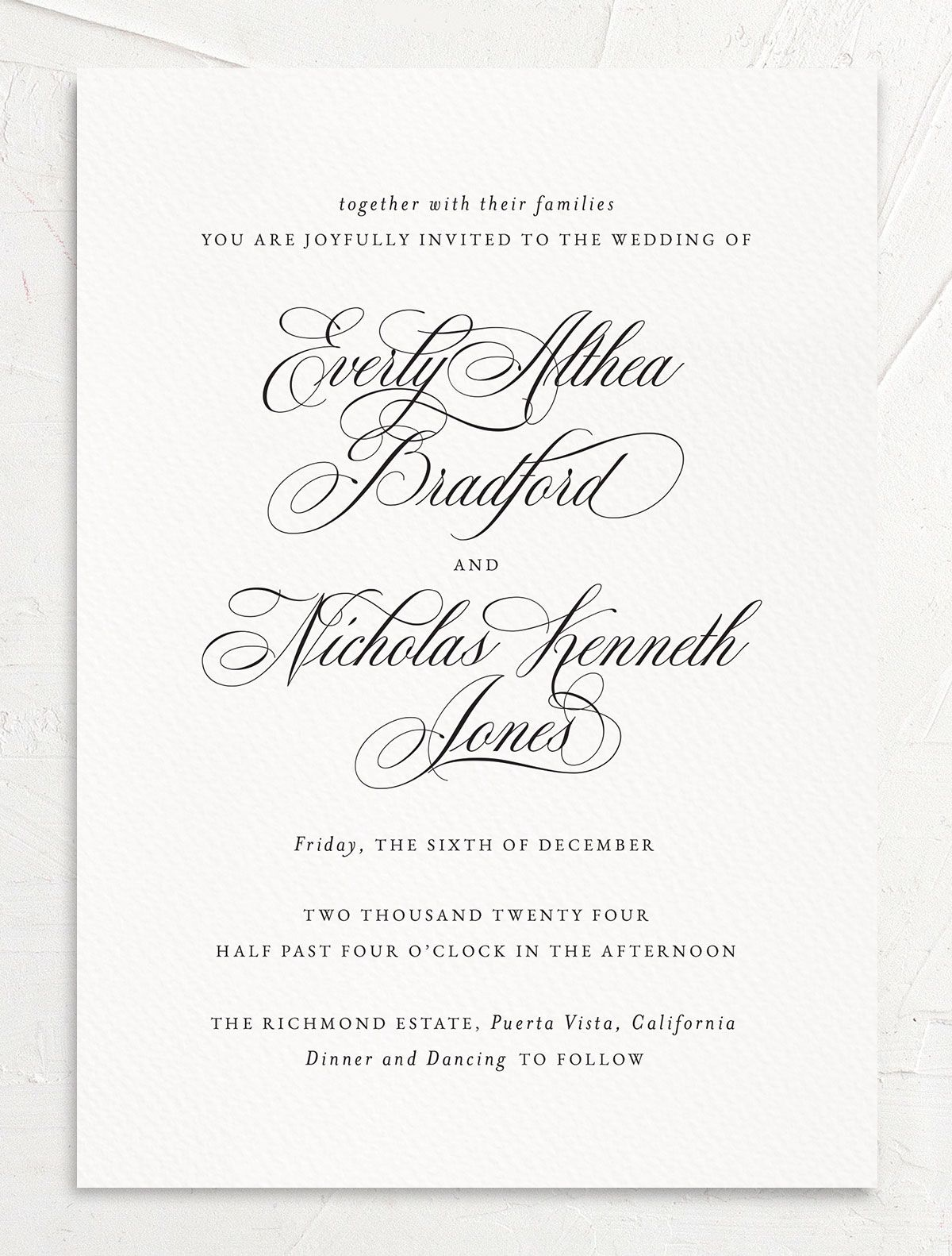 Exquisite Calligraphy Wedding Invitation front in white