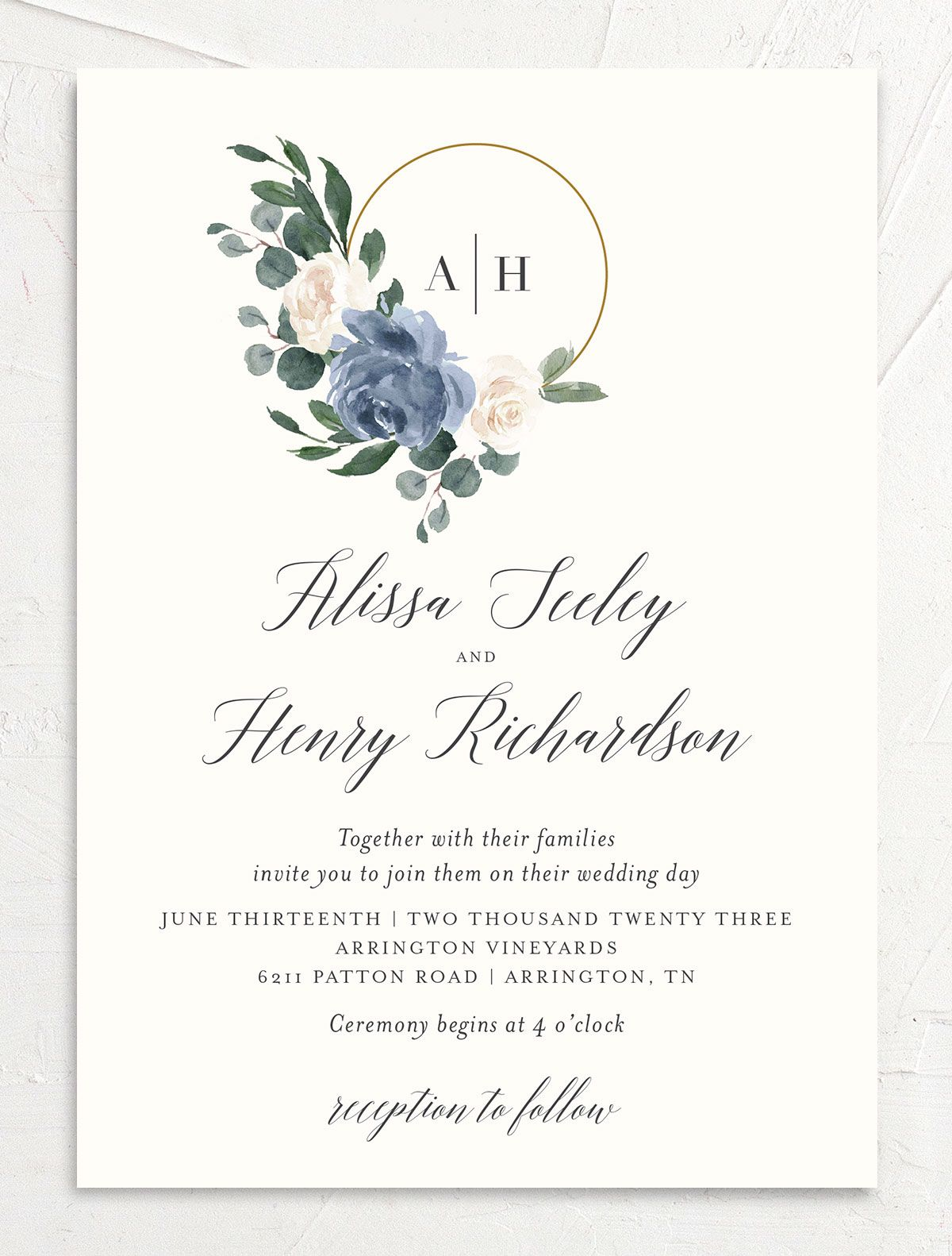 Floral Hoop Wedding Invitation front in blue