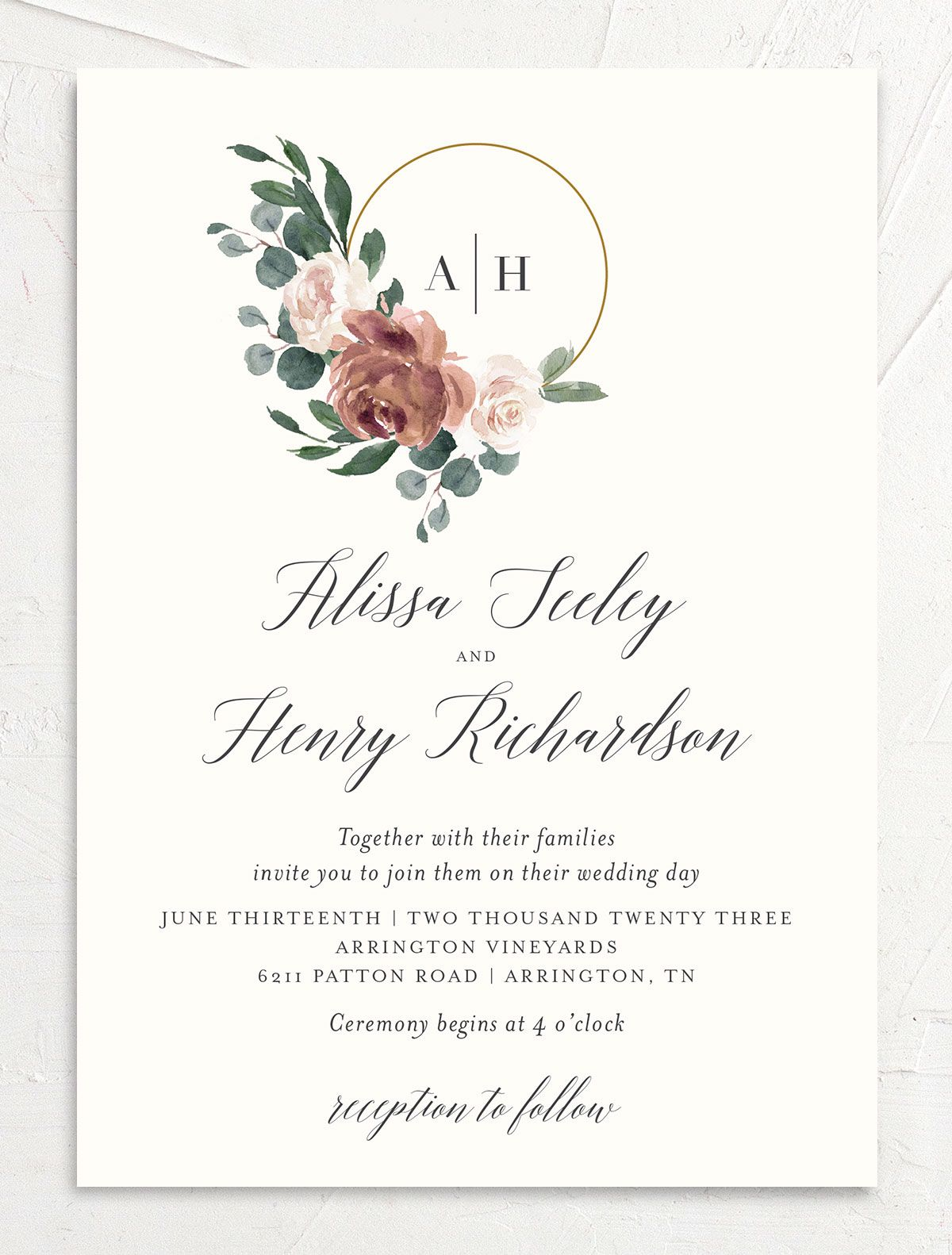 Floral Hoop Wedding Invitation front in pink