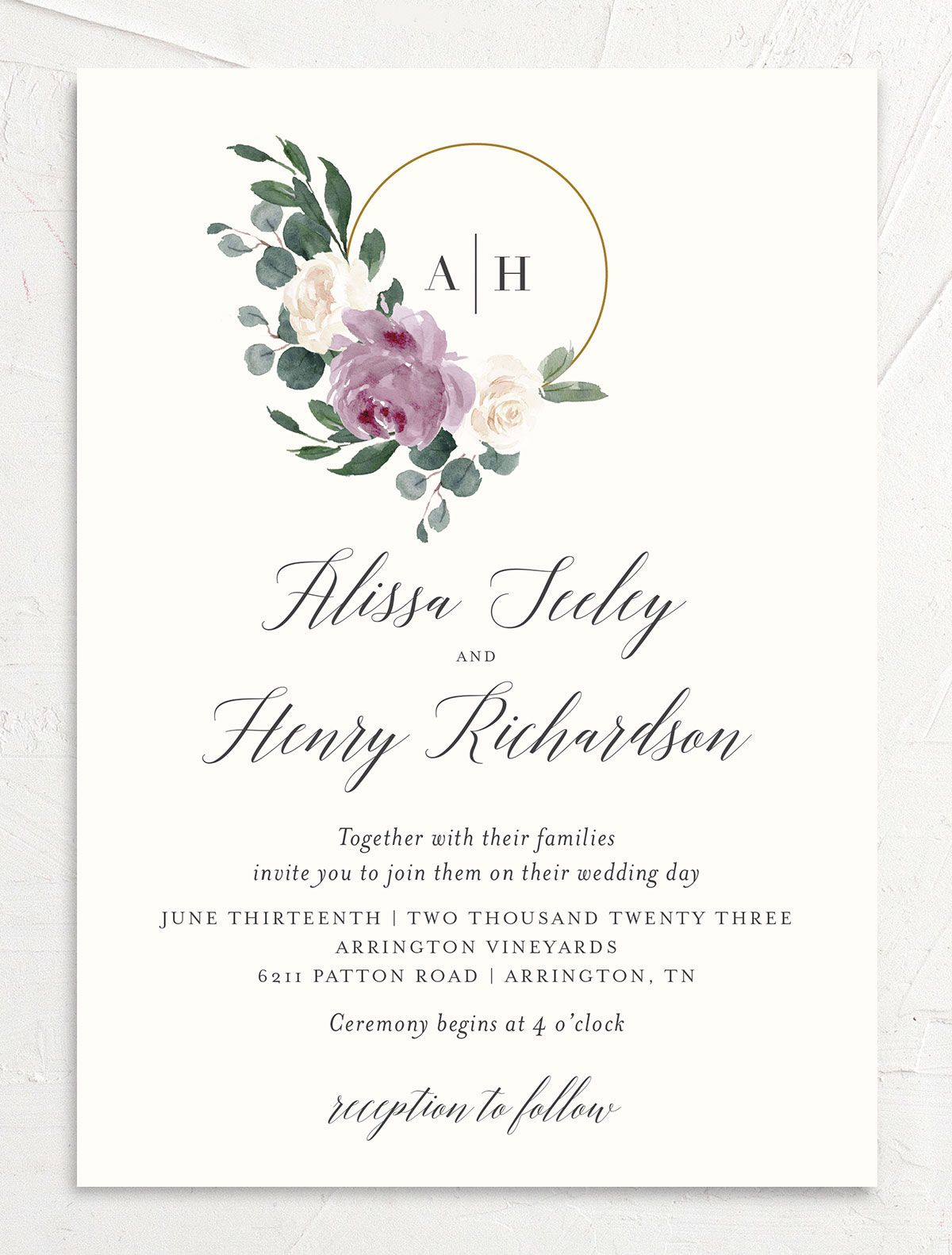 Floral Hoop Wedding Invitation front in purple