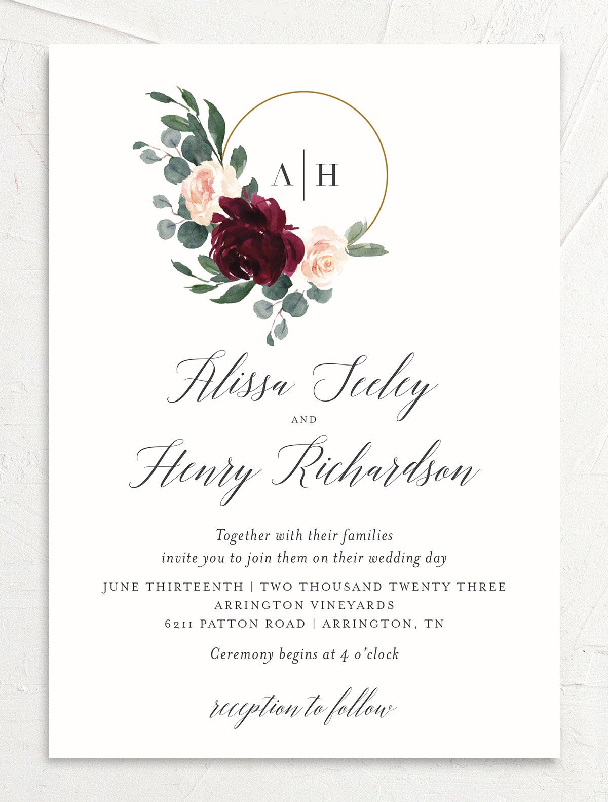 Floral Hoop Wedding Invitation front in red