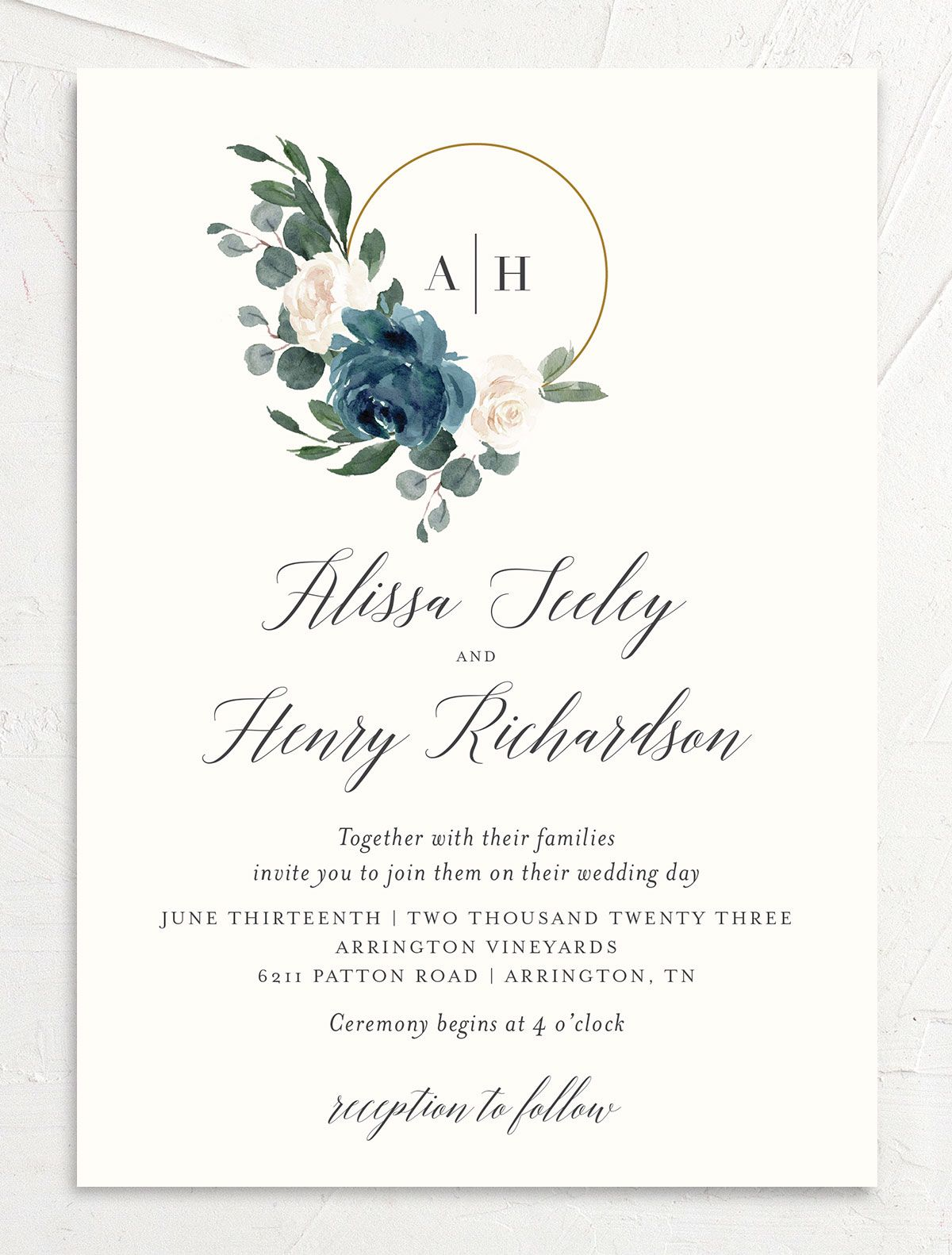 Floral Hoop Wedding Invitation front in teal