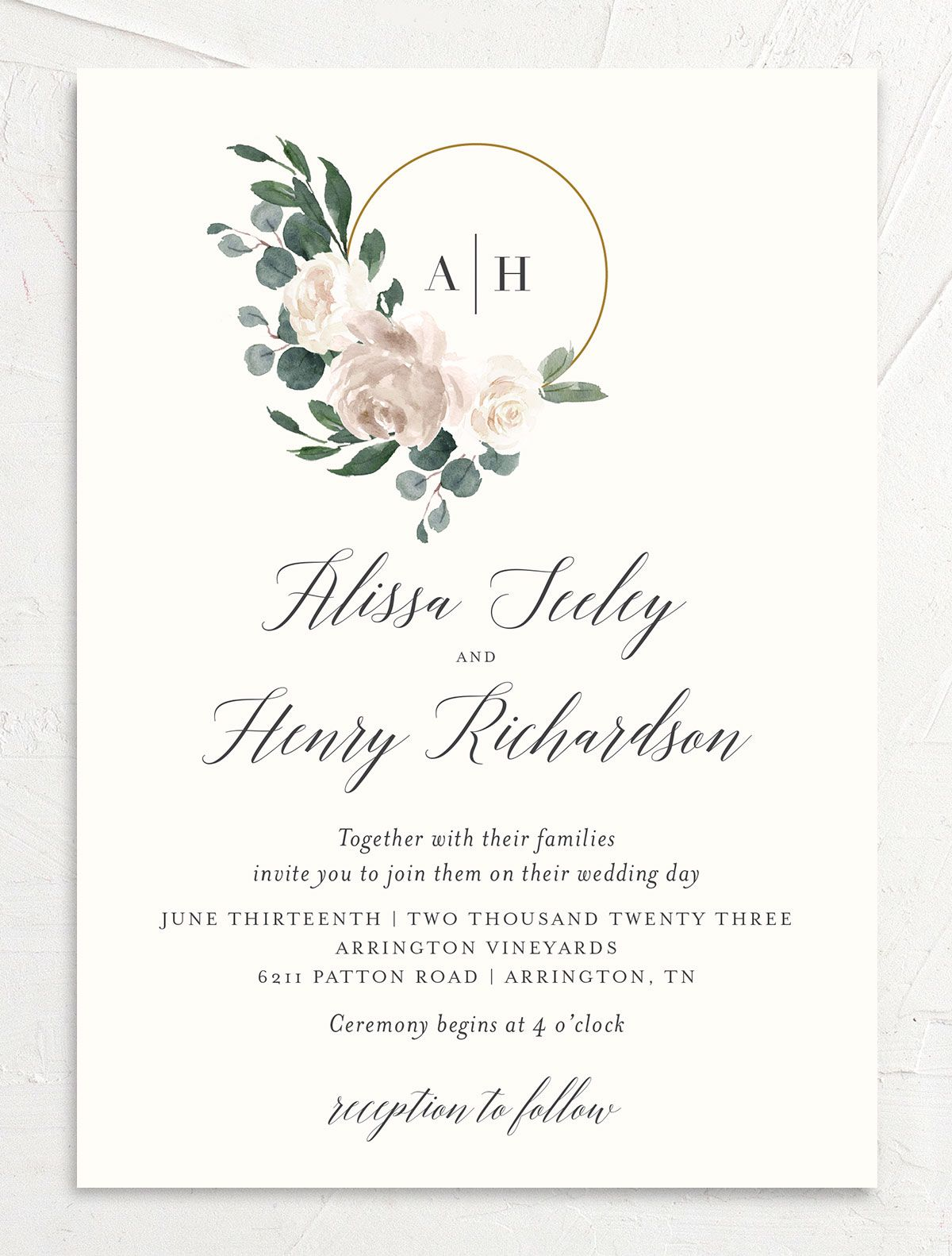 Floral Hoop Wedding Invitation front in white