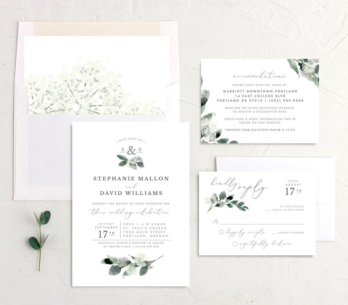 Elegant Greenery Wedding Invitation suite in white