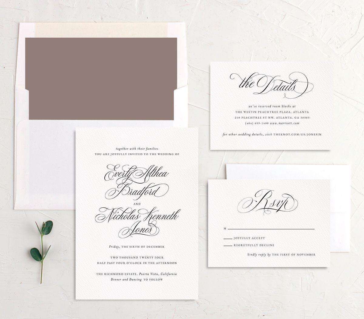 Exquisite Calligraphy Wedding Invitation suite in white