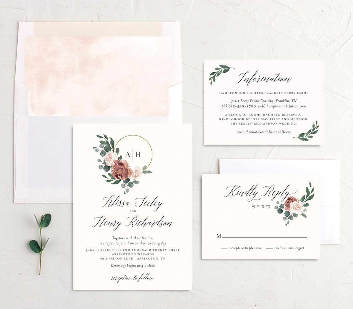 Floral Hoop Wedding Invitation suite in pink