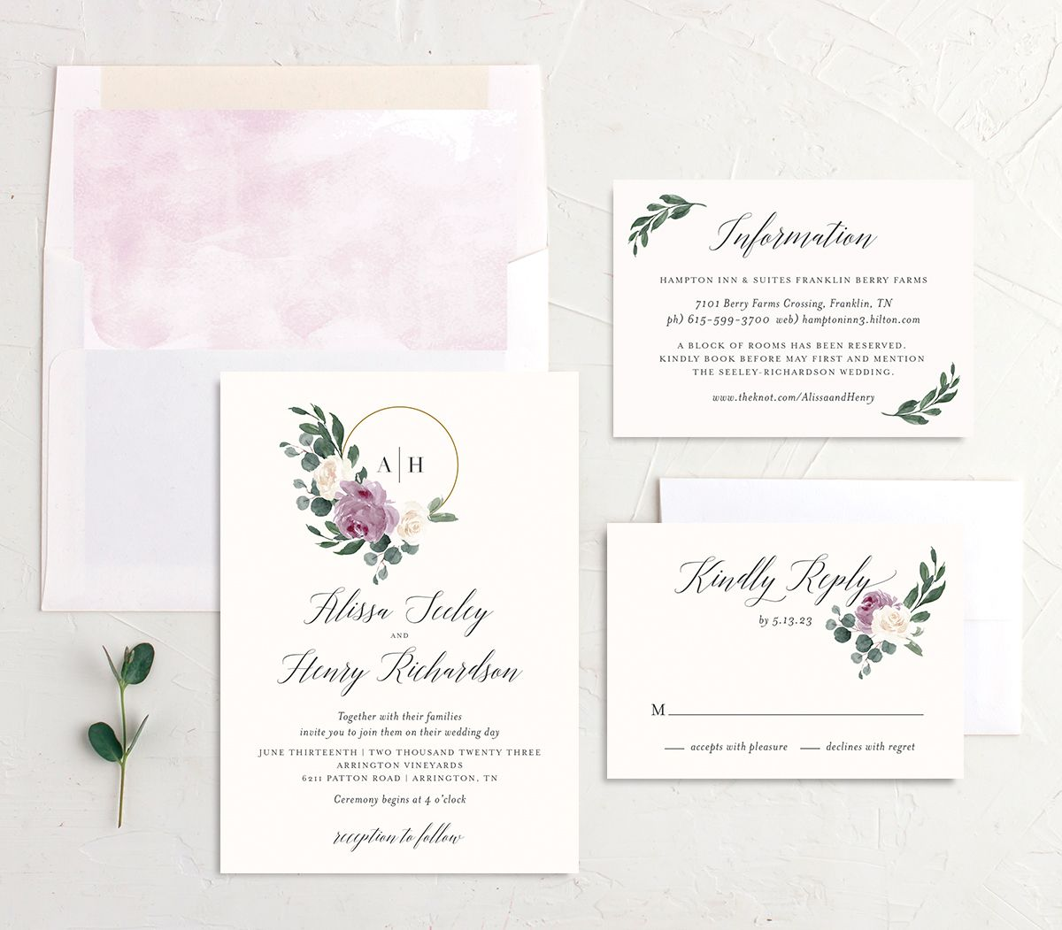 Floral Hoop Wedding Invitation suite in purple