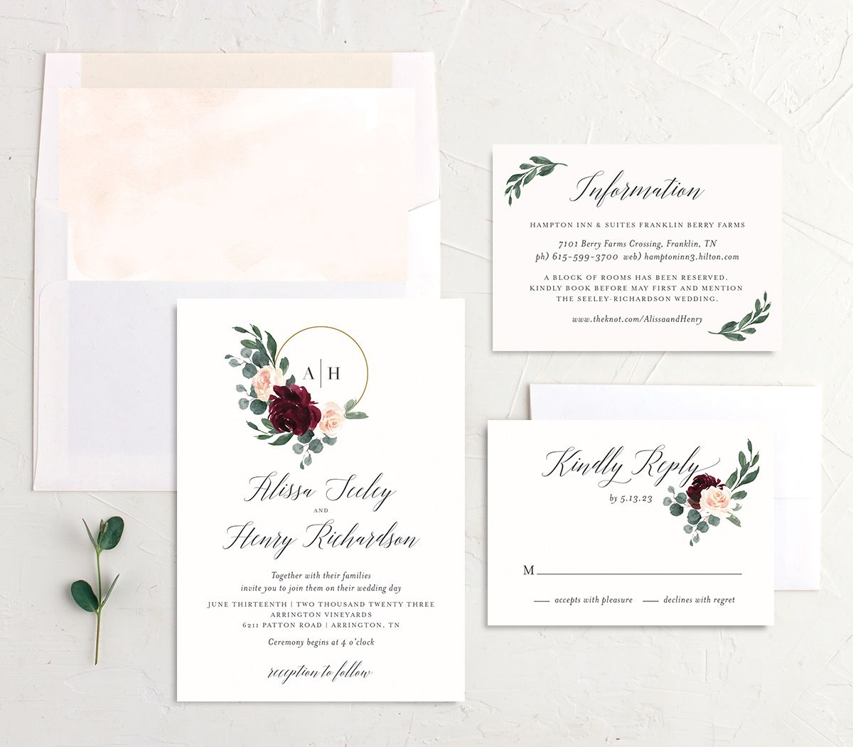 Floral Hoop Wedding Invitation suite in red