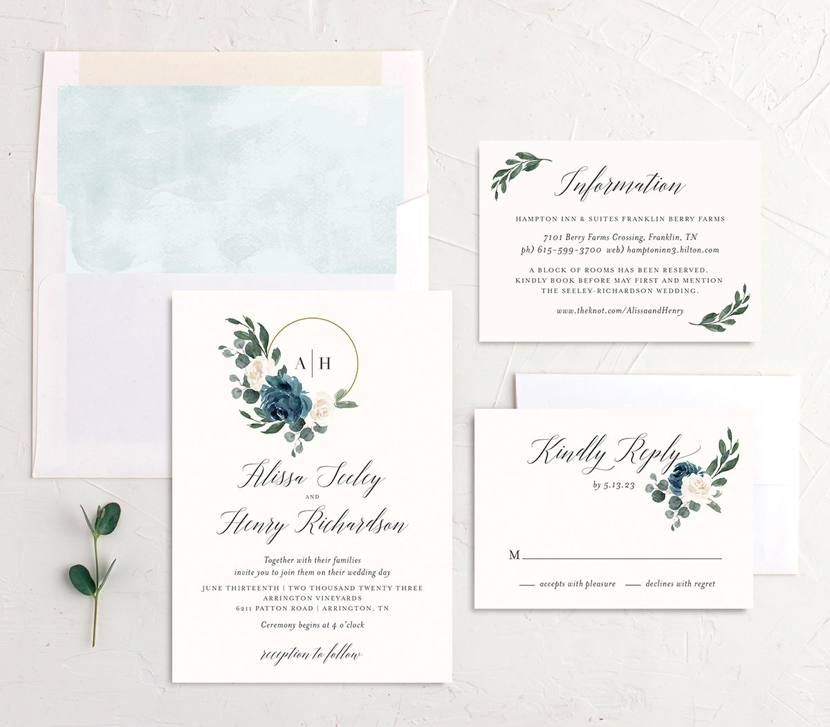 Floral Hoop Wedding Invitation suite in teal