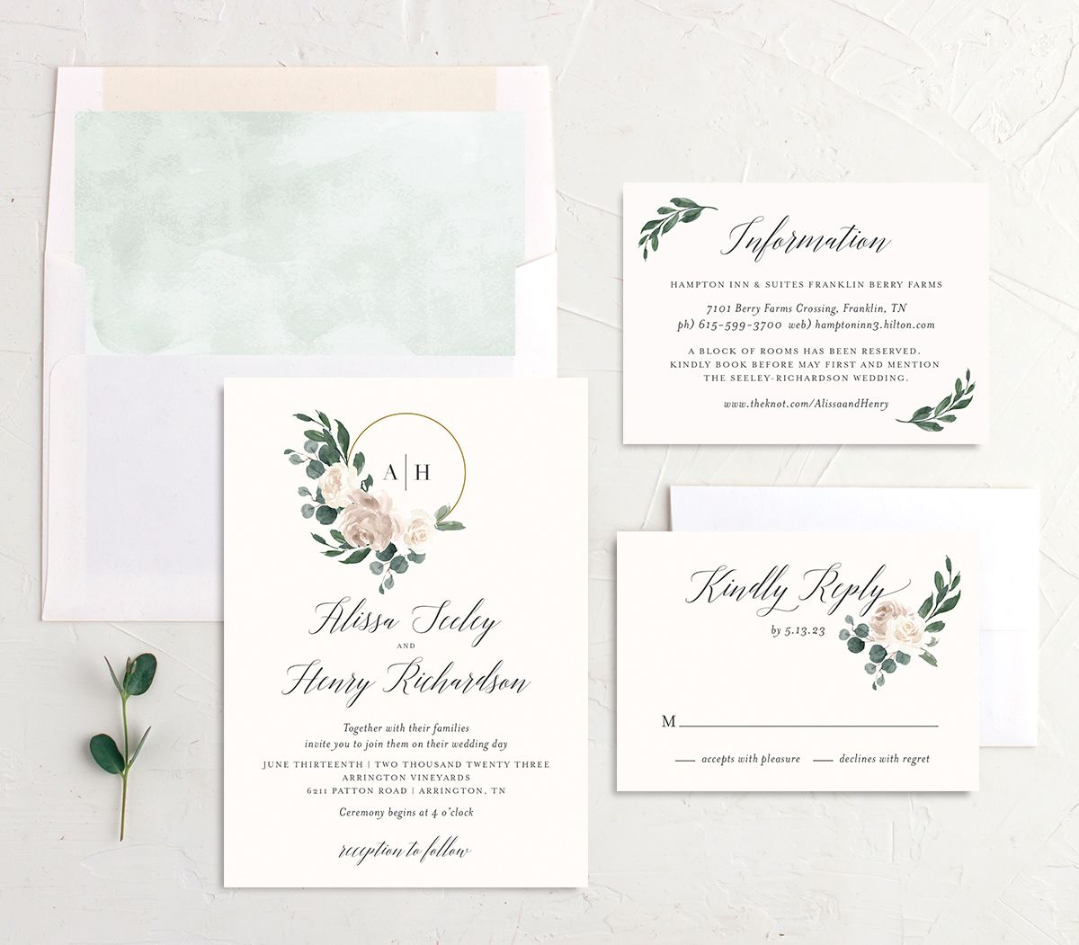 Floral Hoop Wedding Invitation suite in white