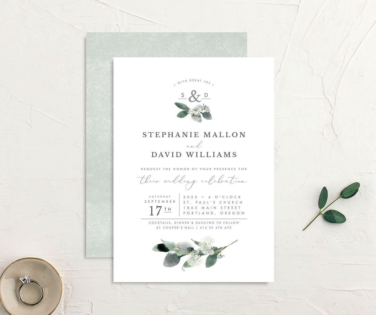 Elegant Greenery Wedding Invitation front & back in white