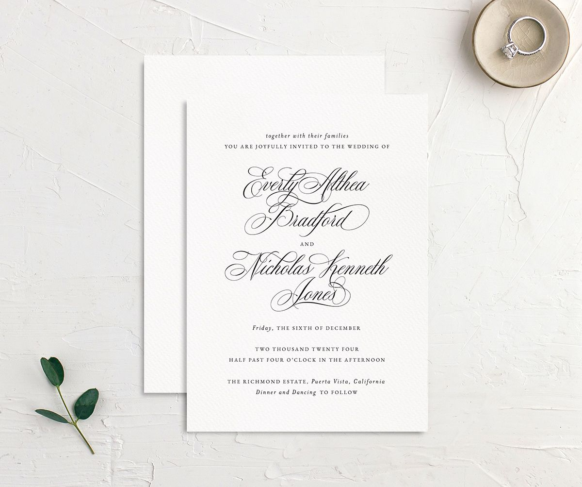 Exquisite Calligraphy Wedding Invitation front & back in white