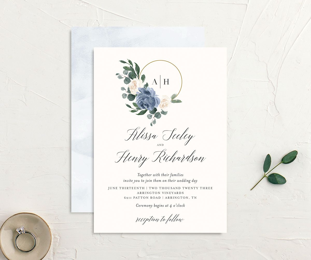 Floral Hoop Wedding Invitation front & back in blue