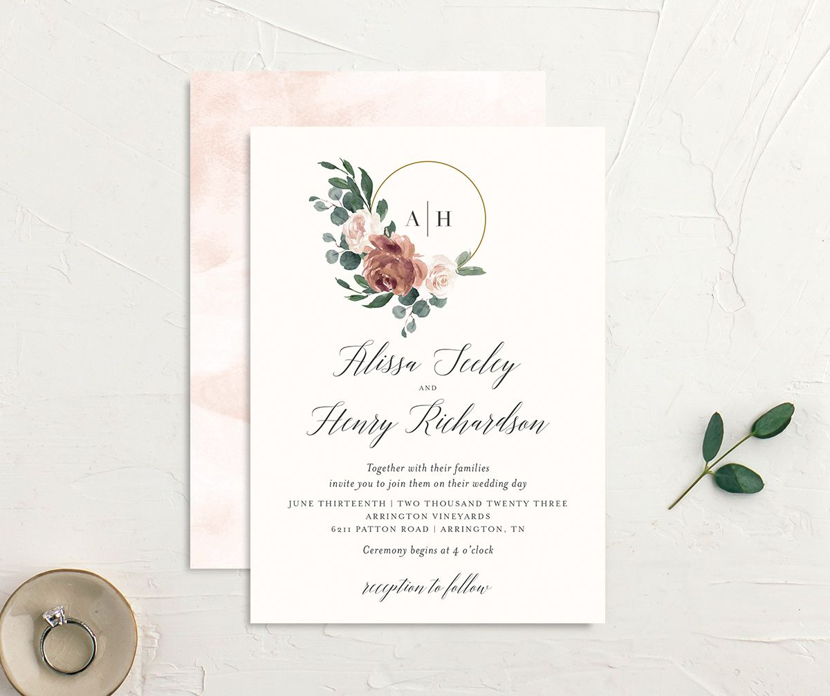 Floral Hoop Wedding Invitation front & back in pink