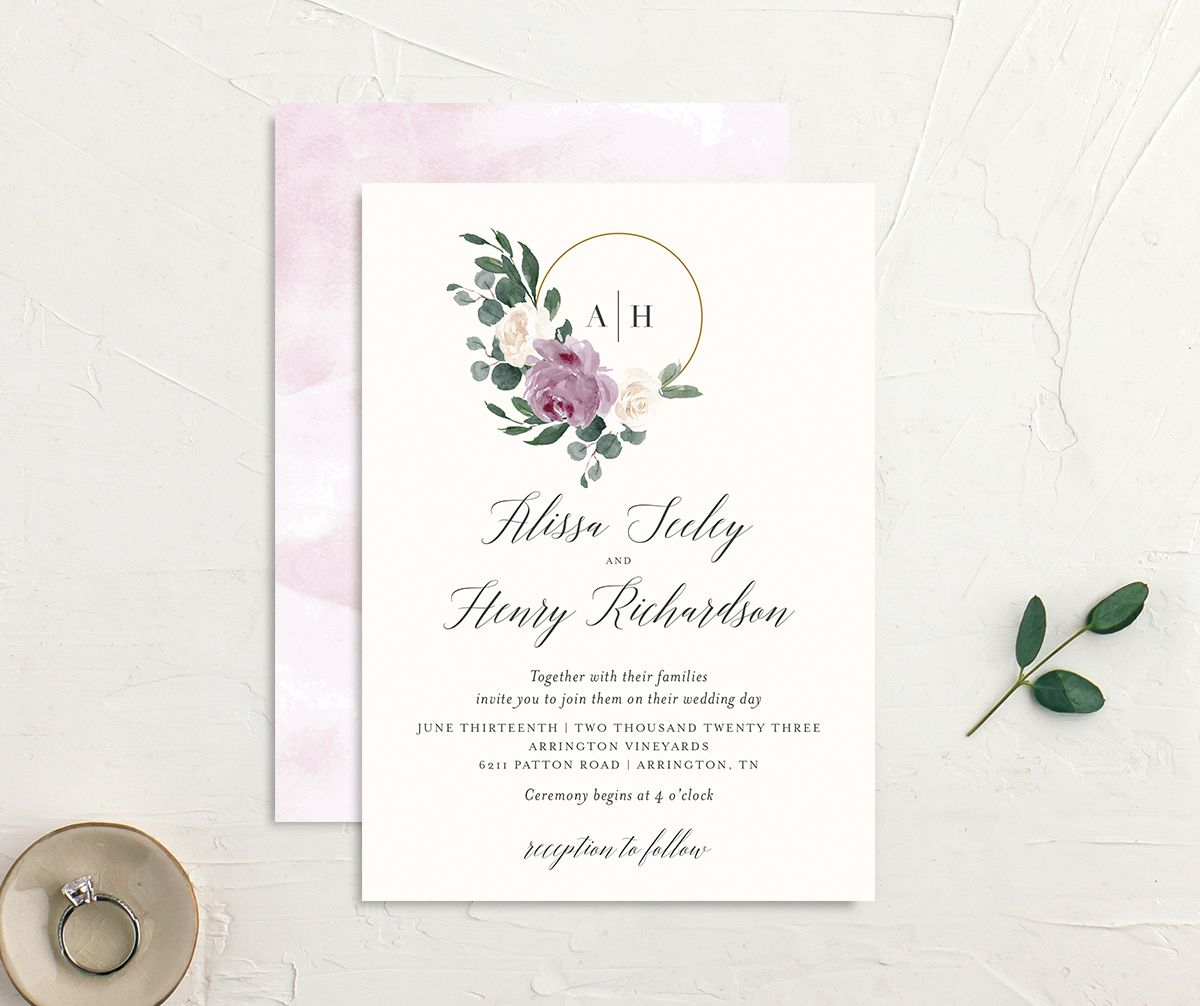 Floral Hoop Wedding Invitation front & back in purple
