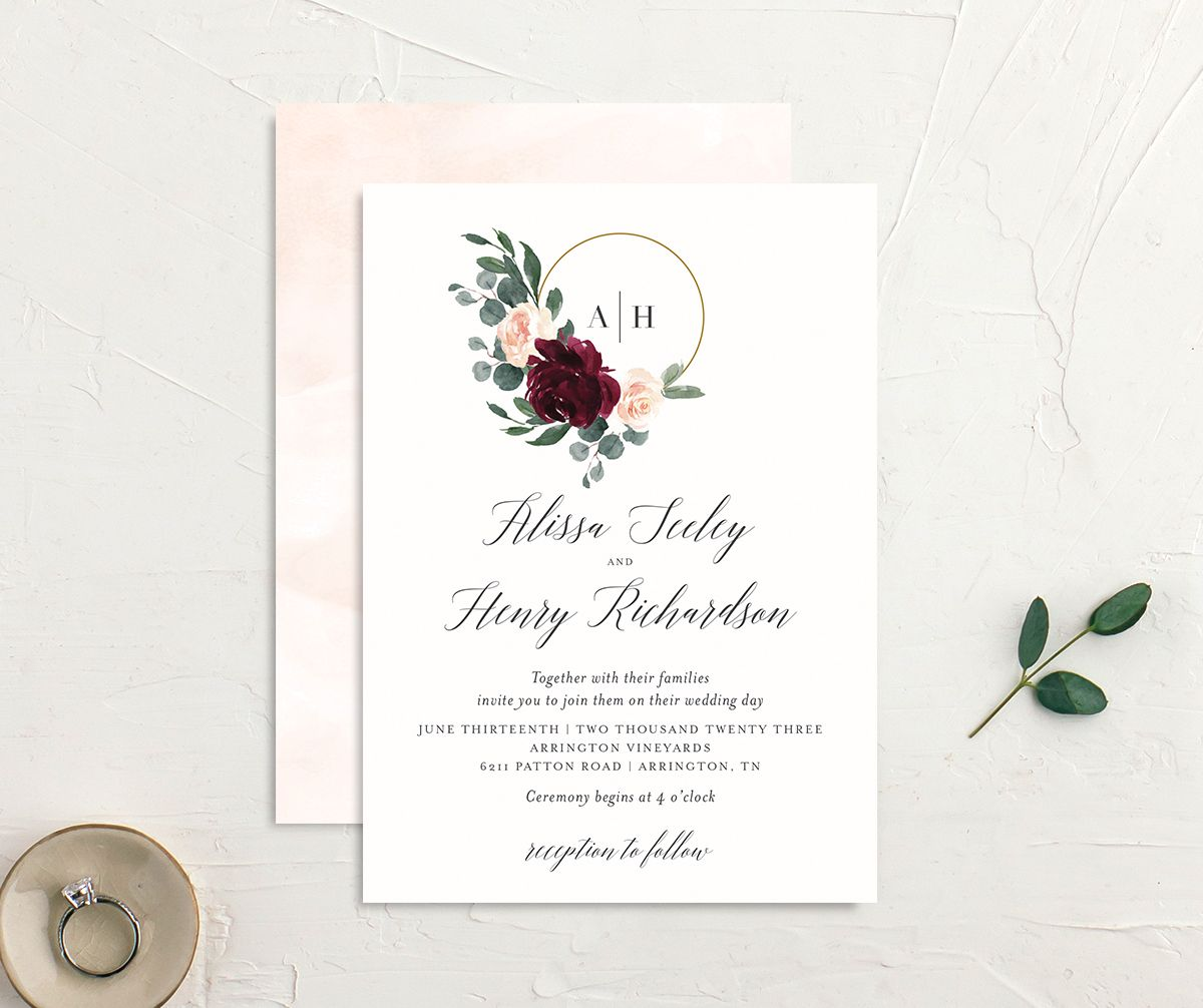 Floral Hoop Wedding Invitation front & back in red